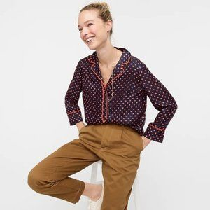 J Crew Collection Silk Twill Popover Top Polka Dot